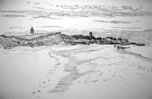 "The beach at Happisburgh - pencil 3""x5"""