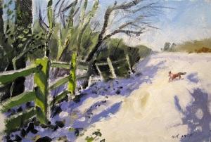 Fox in snow - oil sketch near Cambridge