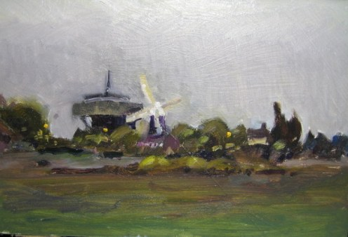 "8""x12"" oil on board Swaffham Prior mill"