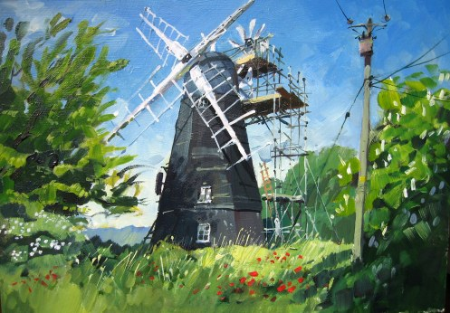 "Great Thurlow mill. Oils 8""x12"""