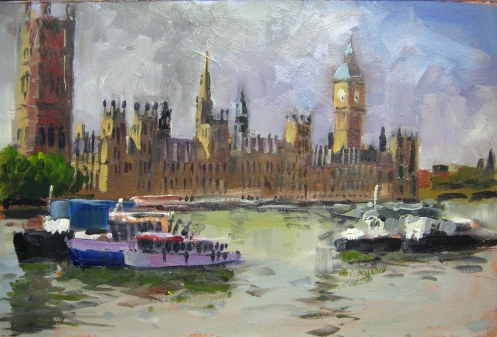 "Houses of Parliament. Oils on hardboard 8""x12"""