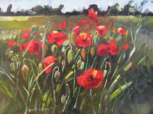 "Poppies, Oils on board 6""x8"""