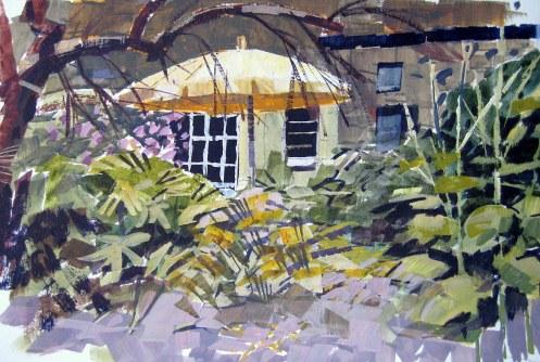 """Warercolour and gouache 4""""x6"""" View in the garden"""