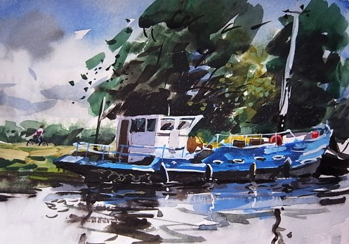 "Boat on the Cam - 5""x8"" - watercolour and gouache"