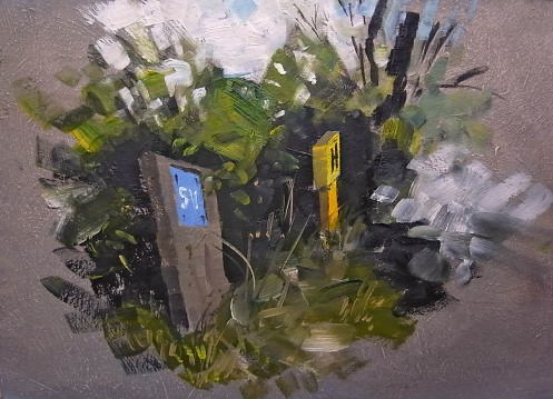 """Utility signs 8""""x12"""" oil"""
