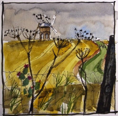 "Chesterton Windmill - watercolour 5""x5"""