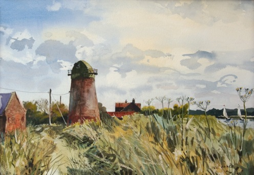 "Clippesby drainage mill. Watercolour and body colour. 12""x18"""