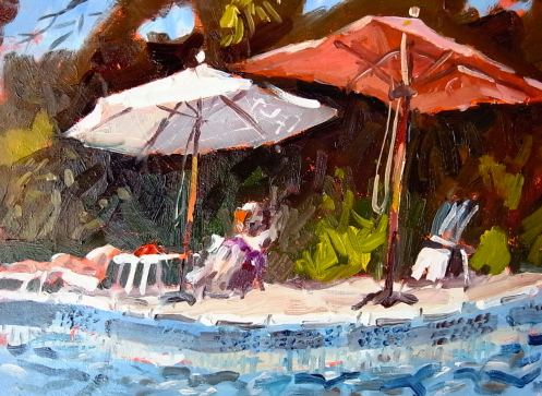 "Pool at the chalet. Oil 8""x12"""