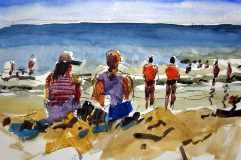 """Taking in the view. Watercolour 5""""x8"""""""